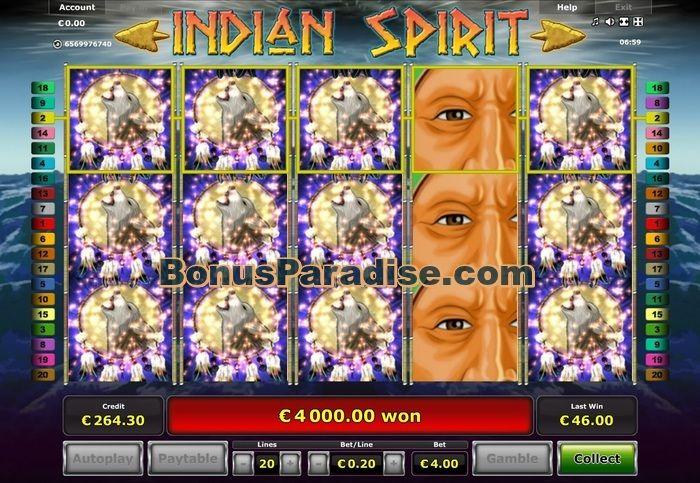 4000€ Gewinn am Spielautomat INDIAN SPIRIT bei Stargames!