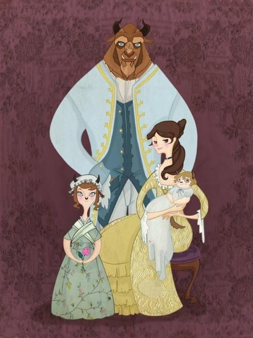 weird babies lol: Beautiful Beast, Art, Posts, Beast Families, Families Photos, Belle, The Beast, Disney, Families Portraits