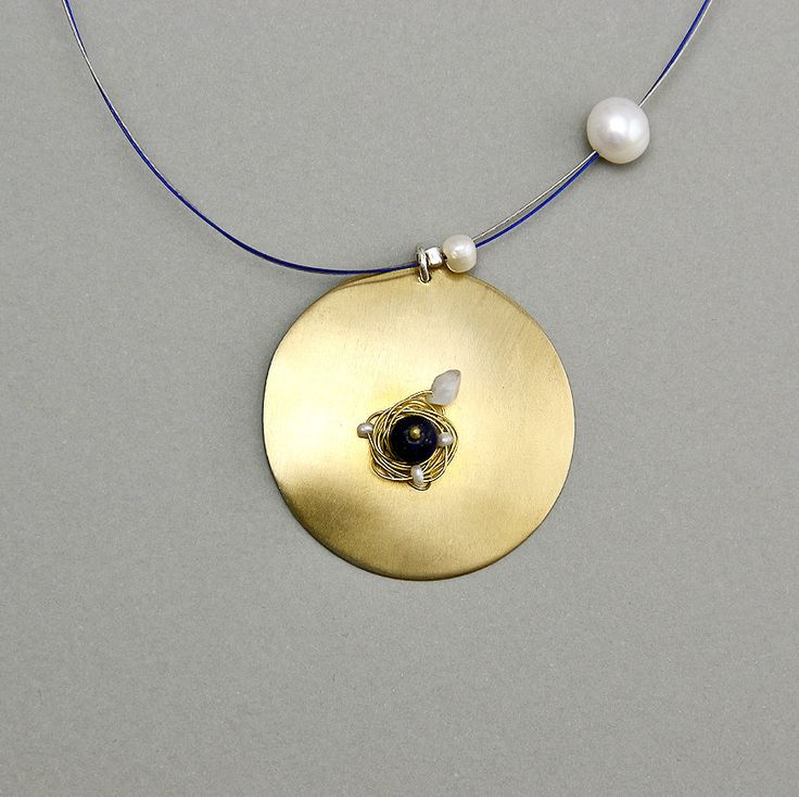 Circle long necklace, lapis lazuli necklace, geometric jewelry, Pendant necklace, gold large circle, tumbaga jewelry, pearl lapis necklace by ColorLatinoJewelry on Etsy