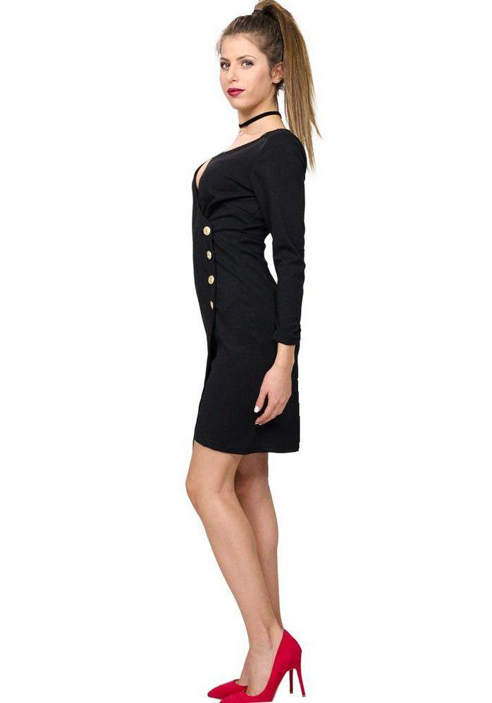Φόρεμα με μακρύ μανίκι κρεπ. Το φόρεμα έχει ντεκολτέ με V και διακοσμητικά κουμπιά στο πλάι. Το φόρεμα κλείνει σαν φάκελος μπροστά ασύμμετρα και πίσω έχει φερμουάρ μέχρι τη μέση. Είναι ένα φόρεμα που φοριέται από το πρωί στο γραφείο μέχρι και τα βραδινά events. Συνδυάζεται με ψηλοτάκουνες γόβες  POLYESTER 96% -SPAN 4%