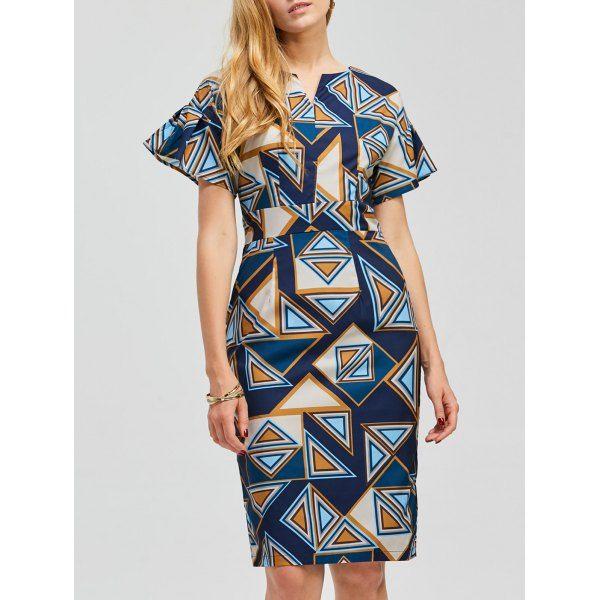 Short Sleeve Geometric Pattern Bodycon Dress, multicolor, XL in Print Dresses   DressLily.com
