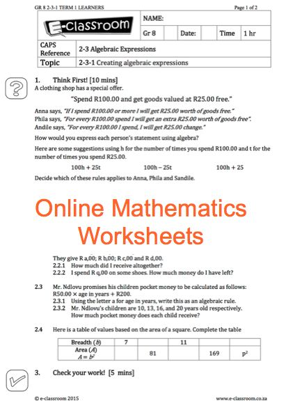 Grade 8 Online Mathematics Worksheets, algebraic expressions. For more worksheets visit www.e-classroom.co.za!