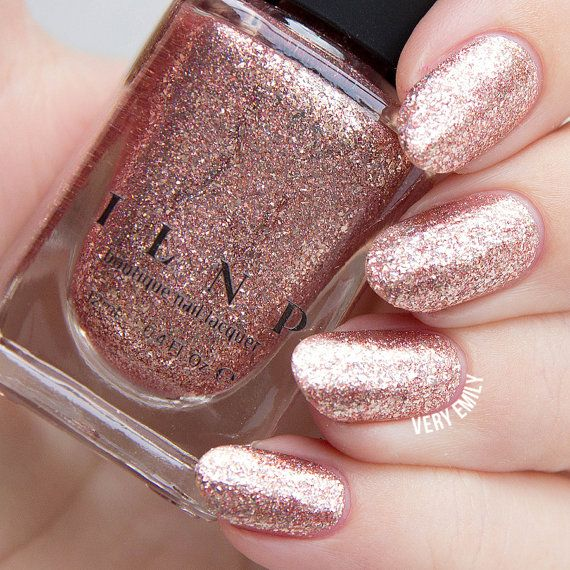 Juliette Rose Gold Holographic Nail Polish by ILoveNP...reviews says lasts 1 week before chipping!