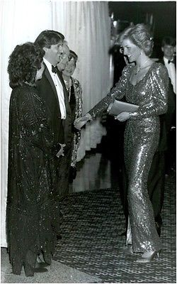 Vintage photo of Princess Diana greets actor Tom Conti and Pauline Collins at th