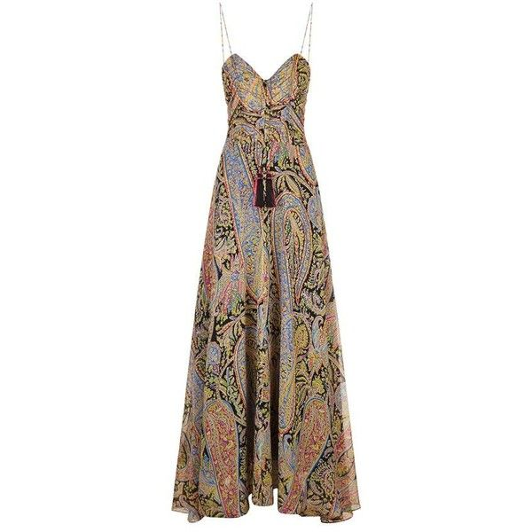 Etro Paisley Print Maxi Gown ($1,830) ❤ liked on Polyvore featuring dresses, gowns, boho maxi dress, maxi dresses, maxi gowns, silk gown and silk evening gowns