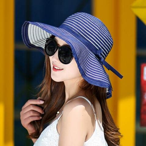 Hepburn striped straw sun hat for women with bow UV wide brim hats
