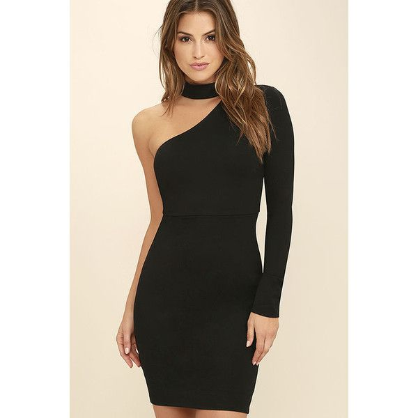 All I Half Black One Shoulder Dress ($58) ❤ liked on Polyvore featuring dresses, vestidos, black, one sleeve dress, holiday dresses, knit dress, bodycon cocktail dress and one shoulder cocktail dress