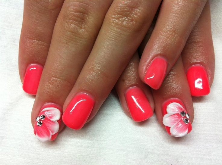 coral gel nails white 3D flowers