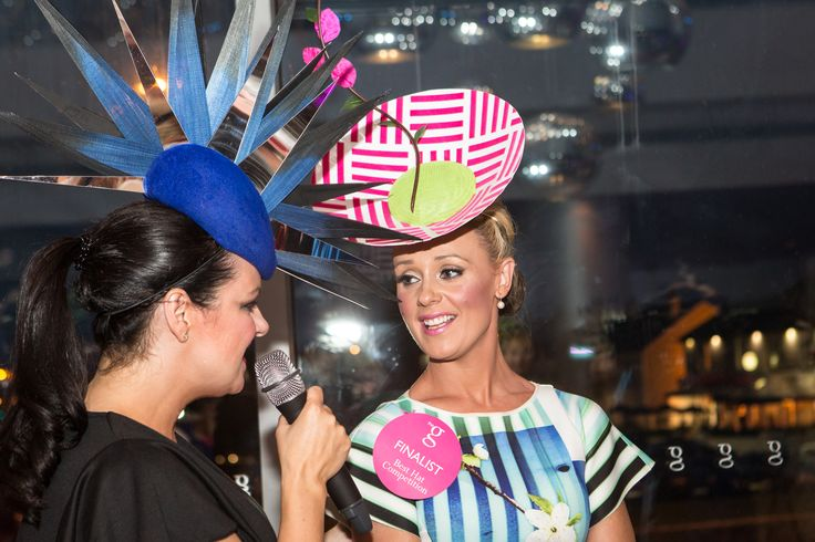 Triona McCarthy, Sunday Independent interviewing one of the entrants in our annual 'Best Hat Event' at the g Hotel & Spa for the Galway Races 2014 www.theghotel.ie