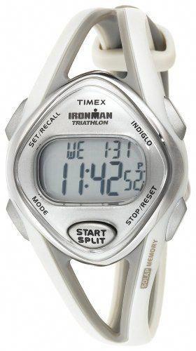 0792822ef Timex Women's T5K026 Ironman Sleek 50-Lap Light Gray Resin Strap Watch:  Watches: