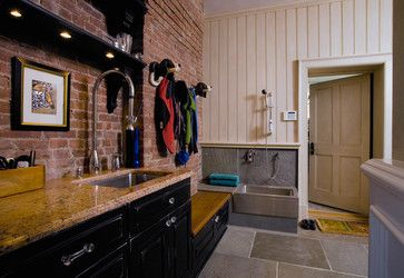 Mud Room With A Stainless Steel Dog Wash Station Bench