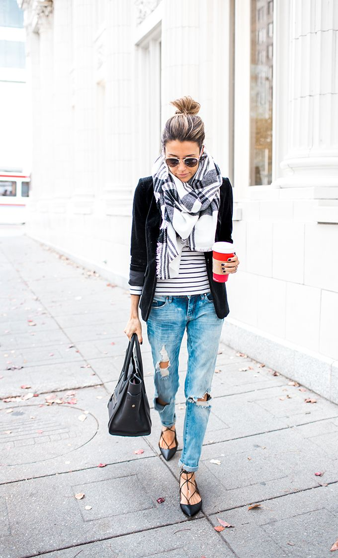 Striped Turtleneck | Black Velvet Blazer | Black And White Plaid Scarf | Distressed Denim | Black Lace-Up Flats | Celine Bag   http://www.hellofashionblog.com/2015/11/tips-to-keep-your-clothes-looking-new.html