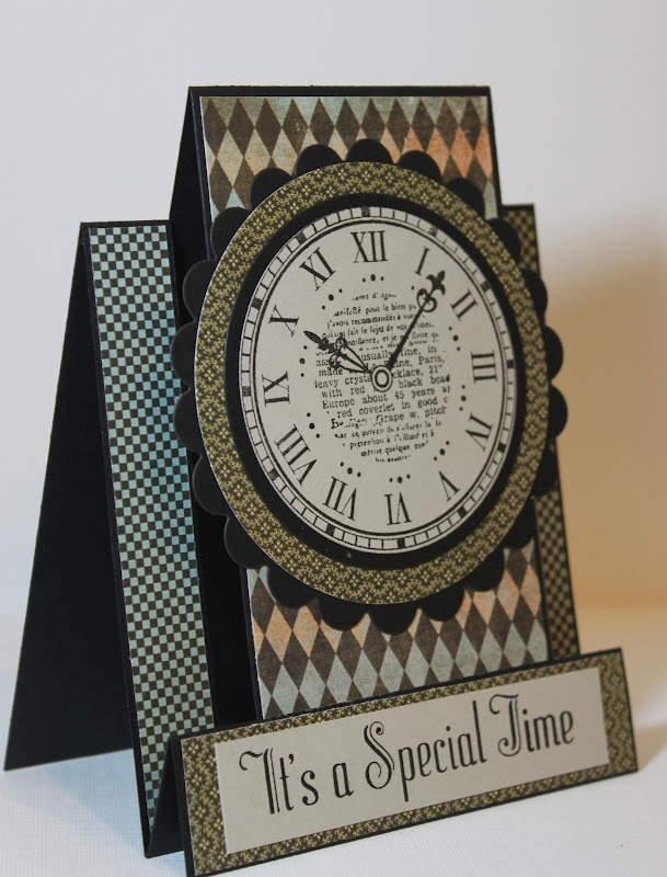time, clock, brown-black, stand-up card