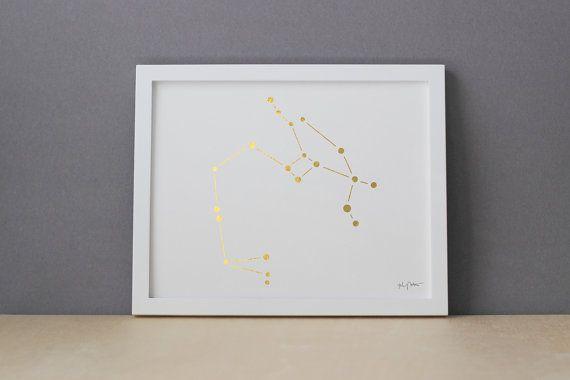 Gold Constellation Sagittarius, zodiac star sign original art; gold, copper, or silver