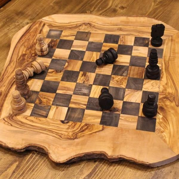 Handmade olive wood chess board – Handcrafted wooden chess set – Hand carved rustic chess games | Olivia