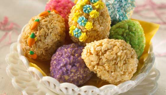 Rice Krispies Easter Eggs  This will be a new fun project for the kids for this Easter!  I mean really how many boiled eggs can you eat?  Plus we all know Rice Krispie treats never have left overs!  Photo and idea courtesy of:  Kellogg's Rice Krispies