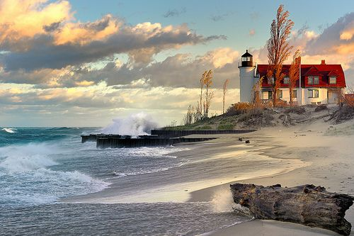 SeasideLights House, Point Betsy, Lake Michigan, Betsy Lighthouses, Pointbetsi, Beach, Places, Great Lakes, Lakes Michigan