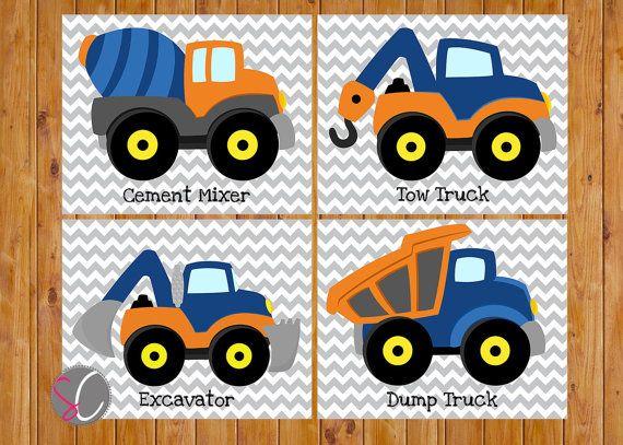 Instant Download Boys Construction Trucks Vehicles Wall Art Room Decor Trucks Orange Navy Blue Playroom 4 Printable 8x10 Digital JPGs (cs3) on Etsy, $20.00