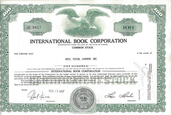 Vintage International Book Corporation Original Stock Certificate Green 1960s International Books Stock Certificates Common Stock