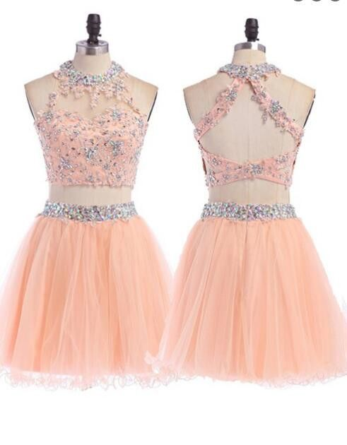 2016 Sexy Two pieces Peach lace homecoming prom dresses, CM0004                                                                                                                                                     More
