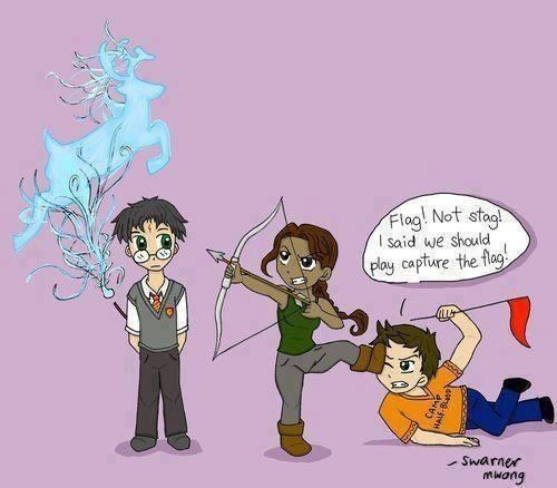 Hunger Games, Harry Potter, and Percy Jackson :D  LOL Capture the flag, not stag'