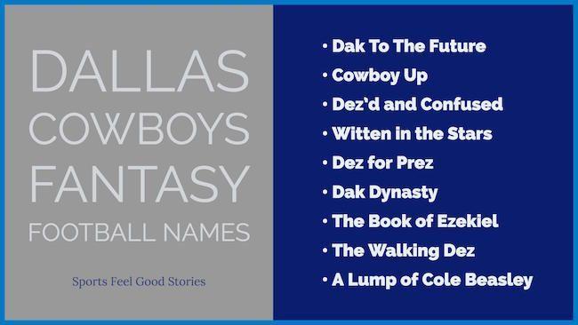 Dallas Cowboys Fantasy Football Names Nfl Cool And Best Fantasy Football Names Football Names Fantasy Football