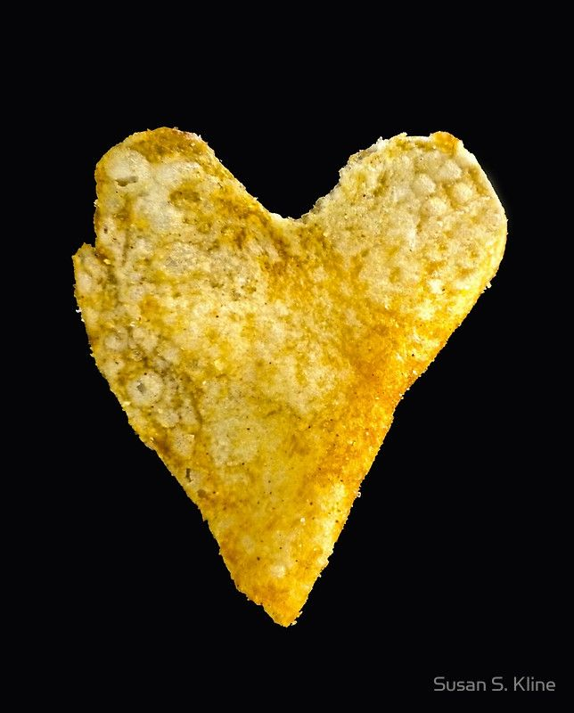 Heart Shaped Potato Chip Graphic T-Shirt Chips, Potatoes and Shape