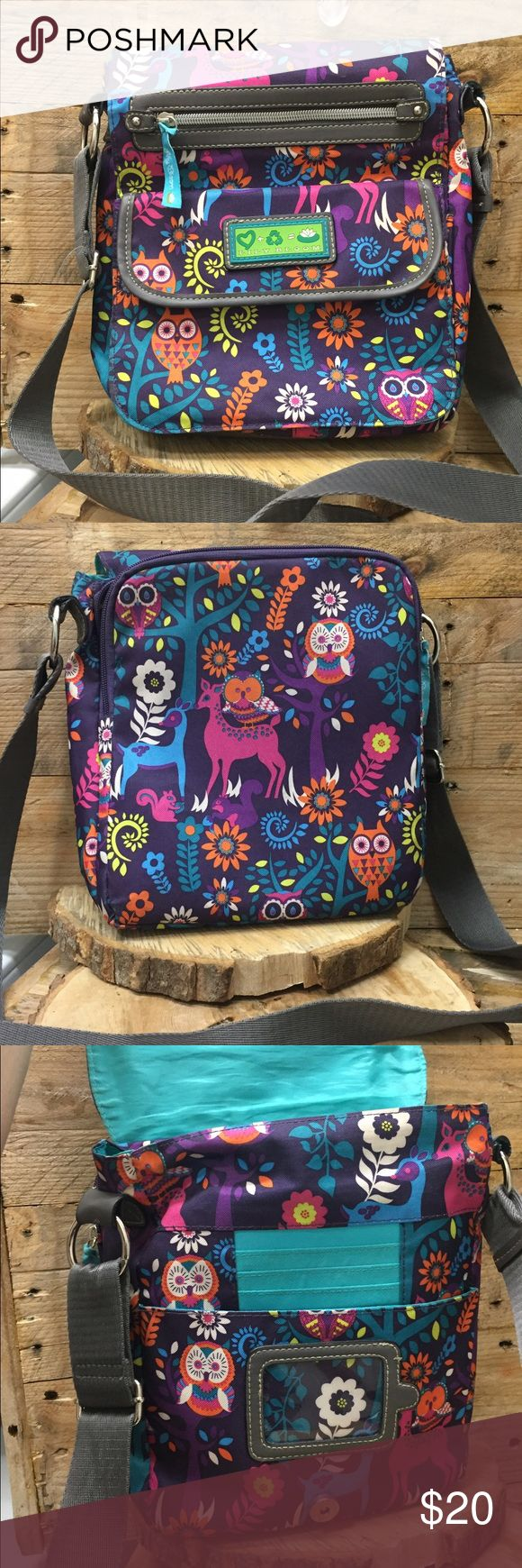 Lily Bloom Owl Cross Body Like New This Lily Bloom Crossbody  with fold over snap front flap. Multiple compartments , place for  id and credit cards.. smoke free home, check out my other bags to save on shipping. Lily Bloom Bags
