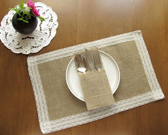Burlap And Lace Placemats   Set Of Table Wedding Placemats, Rustic Table  Decor