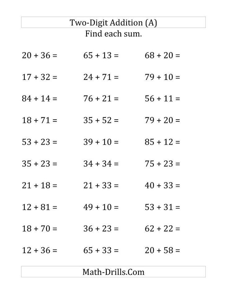 horizontal two digit addition no regrouping large print school math drills math. Black Bedroom Furniture Sets. Home Design Ideas