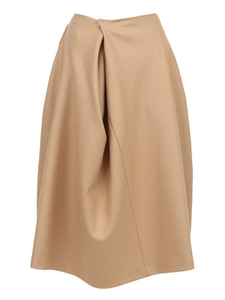 Купить со скидкой Jil Sander бежевая юбка-миди из шерсти с драпировкой (106061) – распродажа в Боско Аутлет