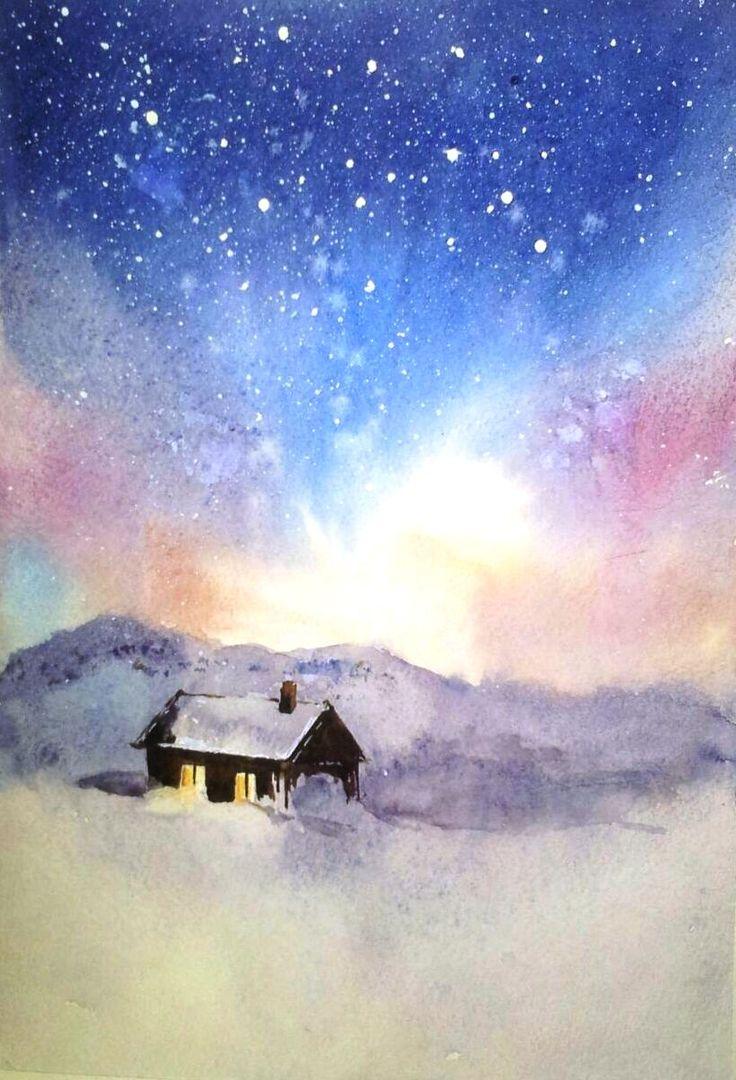 Northern sky.  watercolor