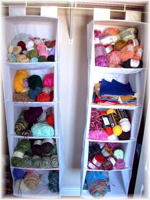 Organize yarn in a closet organizer