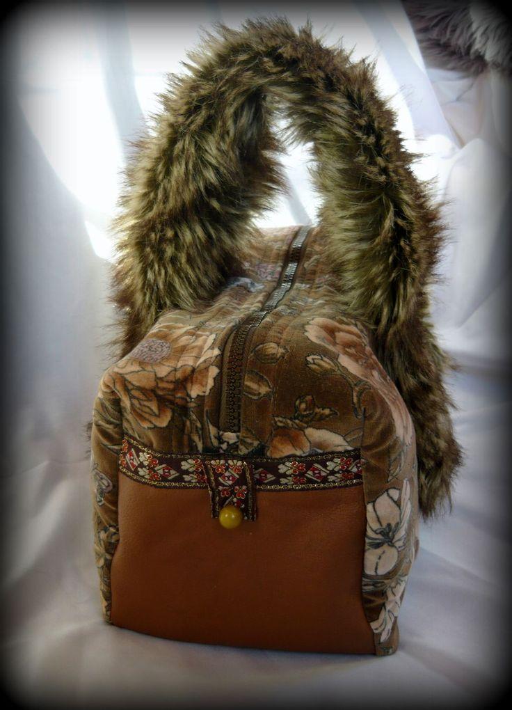 Handmade by Judy Majoros - Rose velvet faux fur and leather handbag-evening bag.Recycled bag