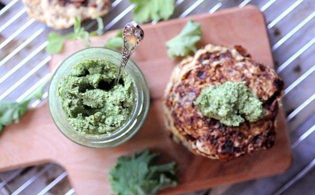 Cauliflower fritters & kale-pesto