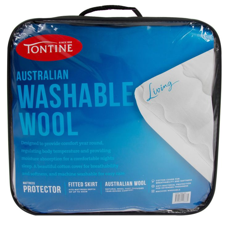 Tontine Washable Wool Mattress Protector - Australian Wool Fill with Cotton Cover and Fitted Skirt - 91cm x 188cm - Single Size