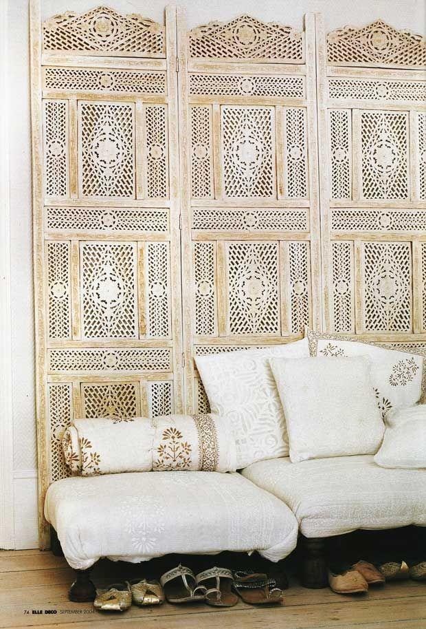 India-Inspired Monochromatic White Interiors and Woodwork Pattern in Home