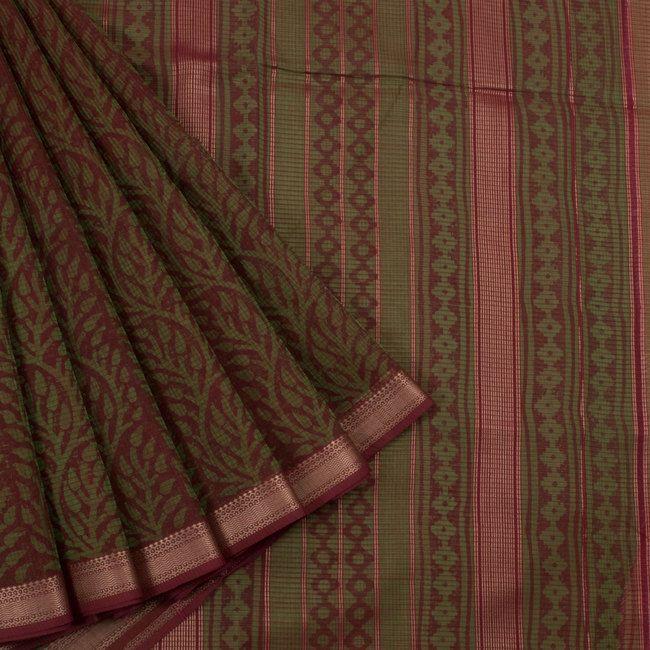 Khoj Olive Green & Maroon Handprinted Lightweight Maheshwari Silk Cotton Saree with Floral Motifs 10002414 - AVISHYA