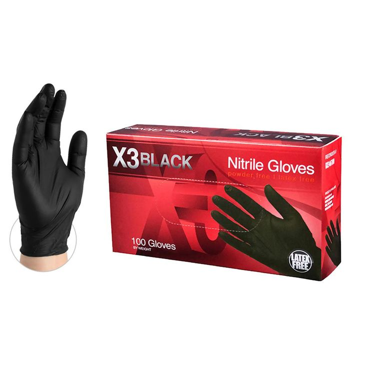 Large 4 mm Large 4 mm Black Nitrile Latex Powder Free Disposable Gloves (1000-Case)