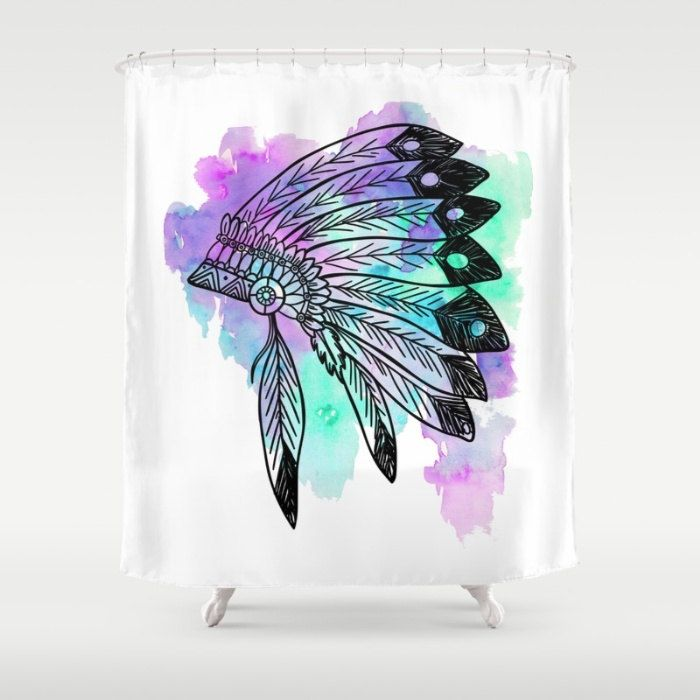 Purple Shower Curtain, Watercolor Shower Curtain, Teal Shower Curtain, Native Headdress Shower Curtain, Pastel Home Decor, Boho Bathroom by OlaHolaHolaBaby on Etsy