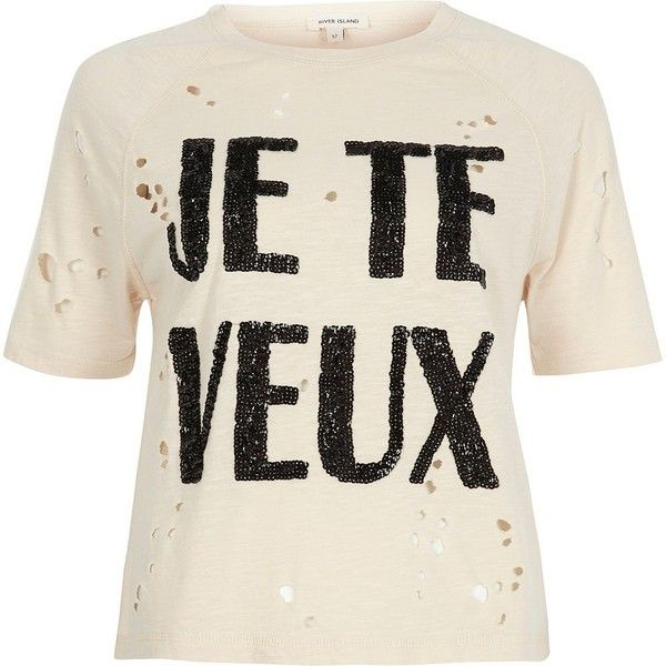 River Island Petite cream sequin print distressed T-shirt ($20) ❤ liked on Polyvore featuring tops, t-shirts, cream, print t-shirts / tanks, t shirts / tanks, women, white tee, petite t shirts, tall tees and sequin t shirt