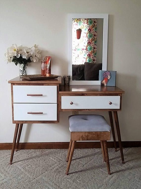 Mid Century Modern Makeup And Vanity Table With Inset Drawers Mid Century Modern Vanity Room Decor Diy Makeup Vanity Plans