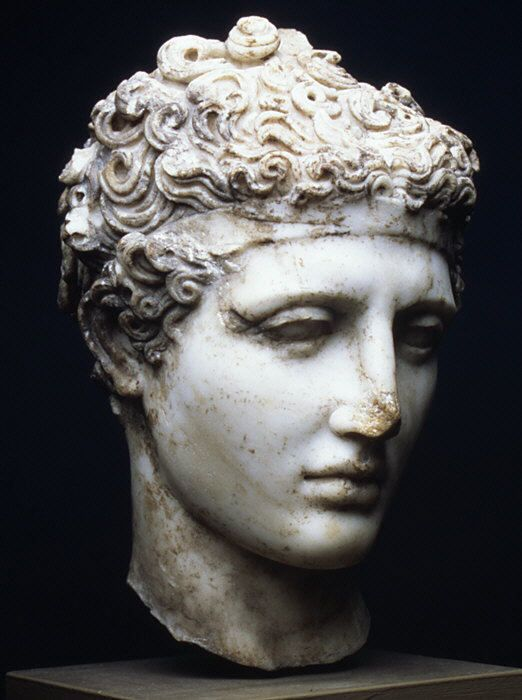 Marble head of an athlete, Roman, c. 138-192 A.D.
