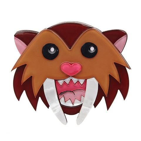 """Erstwilder Limited Edition Smilodon Smiles Brooch. """"Ever heard the phrase 'never smile at a crocodile'? We don't think it would have much effect on this happy chappy."""""""