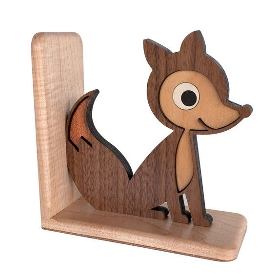 Woodland fox bookend from Graphic Spaces Wood's etsy shop for $80