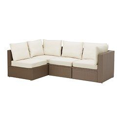 IKEA - ARHOLMA, 4-seat sectional, outdoor, , By combining different seating sections you can create a sofa in a shape and size that perfectly suits your outdoor space.You can make your sofa even more comfortable and add a personal touch by complementing with loose pillows in different sizes and colors.Hand-woven plastic rattan looks like natural rattan but is more durable for outdoor use.Adjustable feet provides stability on uneven floors.