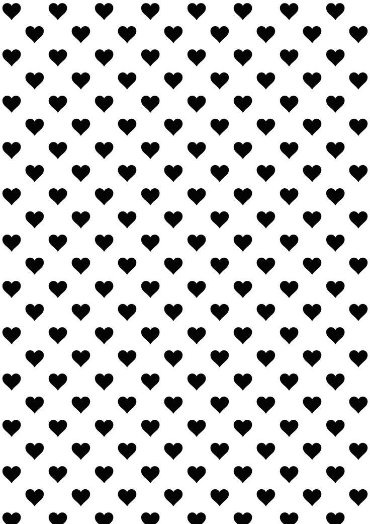 Free printable heart pattern paper | #blackandwhite