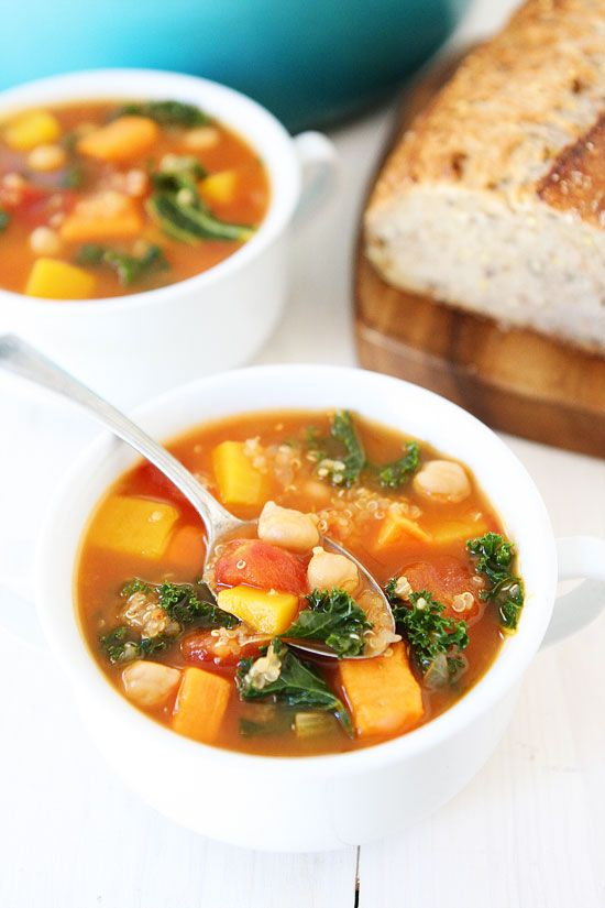 Fall Vegetable Quinoa Soup Recipe on twopeasandtheirpod.com This healthy soup is perfect for a chilly day and it freezes well too!