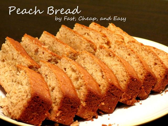 Peach Bread. WAY better than banana bread. Same idea, but uses pureed peaches instead of mashed banana. Cooking in the oven now.