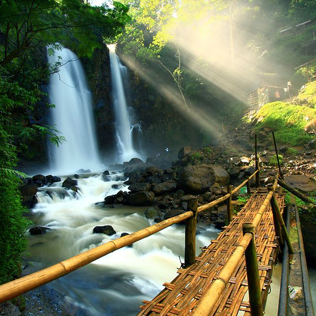 Cinulang Waterfall @ IndonesiaPaths, Nature, Southeast Asia, Crosses, Places, Bamboobridg, Japan Travel, Bamboo Bridges, Bali Indonesia
